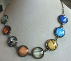 Antiqued Brass Tone Solar System Linked Necklace