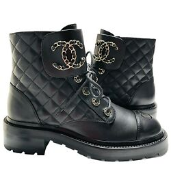 New Black Leather Combat Boots 39.5 Eur Shoes Motto Laces Quilted Cc Logo