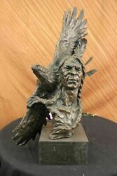 27 Bronze Marble Base Statue Indian Native American Chief Eagle Portrait Bust