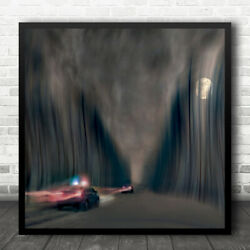 Pursuit Police Patrol Speed Night Chase Chasing Emergency Moon Wall Art Print