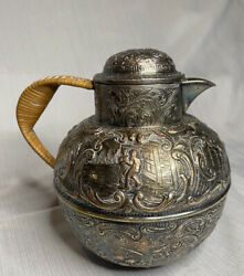 Eg Webster And Son Silver Plate Repousse Teapot Pitcher.