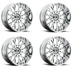 Set 4 20 Vision Off Road 412 Rocker Chrome Wheels 20x9 5x5 +10mm For Jeep Truck