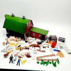 Vintage Marx Lazy Day Farm Tin Barn With Figures, Animals, Accessories