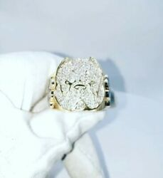 2 Ct Round Sim Diamond Menand039s Personalize Dog Face Logo Ring 925 Silver Free Stud