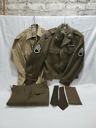 Wwii Us Amry Ike Jacket With Patches And Pins, Shirt, Ties, Trousers, Garrison Cap