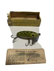 Vintage Fred Arbogast Wood Jitterbug Lure In Original Box/papers Nos See Photos