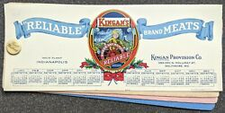 Vintage 1925 Kingan Reliable Brand Meats Christmas Celluloid Ink Blotter