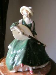 Original Vintage Porcelain Figurine Girl With A Lute 1900-1920 Marked