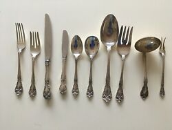 77 Piece Chateau Rose By Alvin Sterling Silver Dinner Flatware Set