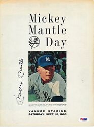 Mickey Mantle Hof Yankees Signed 1965 Mickey Mantle Day Program Psa/dna 162087