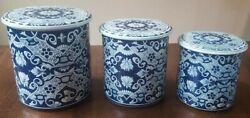 Vintage Delft Blue Made In Holland Enamel Tin Kitchen Nesting Canisters
