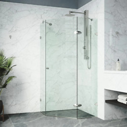 Shower Enclosure 40 In. W X 73 In. H Corner In Brushed Nickel With Clear Glass