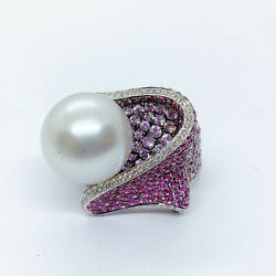 White Gold South Sea Pearl Pink Sapphire Diamond Ring