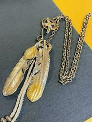 Goroand039s Silver Feather Gold Feather Necklace Wheel Chain Set Genuine