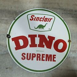 Sinclair Dino Porcelain Enamel Sign 12 Inches Round