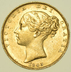 1843 Victoria Young Head Sovereign, British Gold Coin Ef
