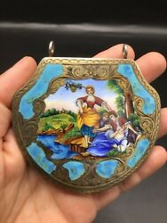 Antique Italian 800 Silver And Enamel Mirrored Compact
