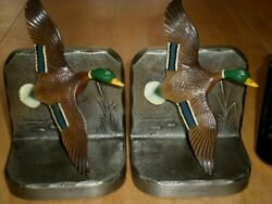 Mallard Duck, Solid Metal Bookends Statue, Vintage Usa 1960's Yrs.