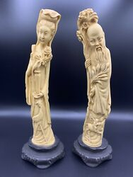 2 Vintage Carved Resin Statues Figurines Asian Oriental Couple 12 Italy