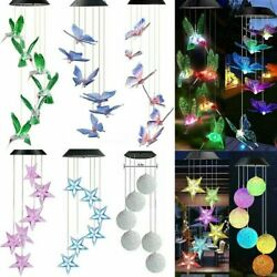 Solar Wind Chimes Light Led Garden Color Changing Hanging Butterfly Heart Star