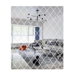 Diamond Spliced Mirror Stickers Self Adhesive Mirror Sheets Home Wall Decals