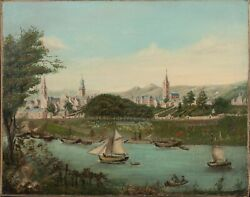 19th Century Military Manoeuvres Budapest Or Vienna City River Landscape