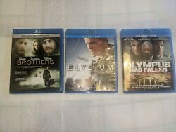 Olympus Has Fallen, Brothers And Elysium Pre Owned Blu-ray Lot Of 3. Free Shipping