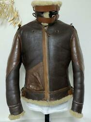 The Real Mccoy's B-3 Jacket Leather Mouton War Model Size M38 Brown Rare