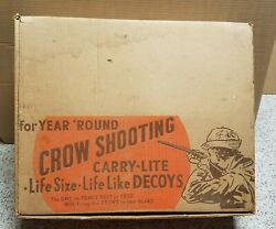 Vintage Carry Lite Crow Shooting Kit Decoys With Owl In Box