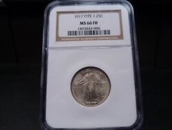 1917 Type 1 Ms66fh Full Head Standing Liberty Quarter Ngc Certified - White/pq