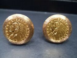 1913 2.50 Gold Indian Quarter Eagle Coin Cufflinks Mounted In 14k Gold