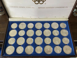 1976 Canada Montreal Olympic Silver Complete 28 Coin Set With Box