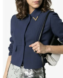 Valentino V-detail Collar Double Crepe Crop Jacket