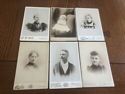 Lot Of 6 Antique Cabinet Card Photo Young Baby Black Woman Man Utica Ny