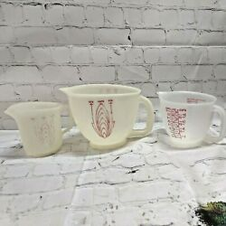 3 Vintage Tupperware Measuring Cups, 1-2 Qt, 1-4 Cup And 1-2 Cup