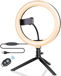 10 Led Selfie Ring Light With Tripod Stand And Phone Holder For Black-10 Inch