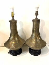 Pair Of Vintage Hand Hammered Floral Brass Moroccan/morrish Revival Table Lamp