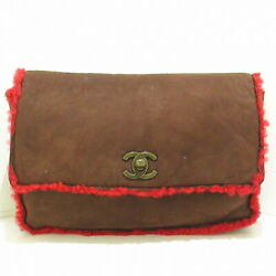 Clutch Bag Vintage Gold Fittings Dark Brown Red Mouton No.8423