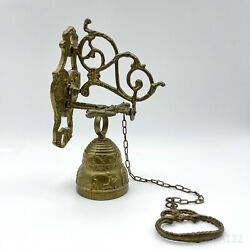 Antique Brass Wall Bell Door Bell Torglocke With Chain Hoist And Wall Mount