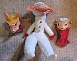 Vtg Lamb Chop And Charlie Horse Rubber Face Plush Doll/puppets Toys 1960s Ideal
