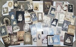 Lot 47 Bandw Antique Cabinet Cards And Studio Photo Folders Of Children And Infants