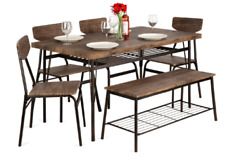 Best Choice Products 6-piece 55in Wooden Modern Dining Set For Home Kitchen Di