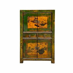 Chinese Distressed Grass Green Two Shelves Flower Graphic Cabinet Cs6920