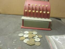 Tom Thumb Red Tin Metal Cash Register Toy Cinderella Manufacturing W/toy Coins