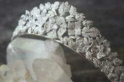 Beautiful Flower And Lear In 925 Solid Silver With 17.3ct Shiny Pave Cz Fine Tiara
