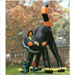 20ft Lovely Animated Giant Inflatable Black Cat For Halloween Decoration Bi