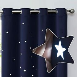 Blackout Curtain Kids for Bedroom Star Cutout Grommet Thermal Insulated 2 Panels $21.99
