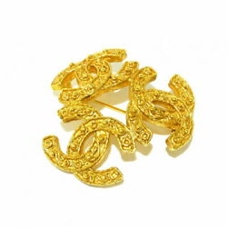 Brooch Triple Coco Metal Material Gold Previously Owned No.8421