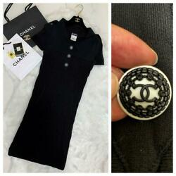 With Coco Mark Button Short Sleeve Rib Knit Dress 36 No.2