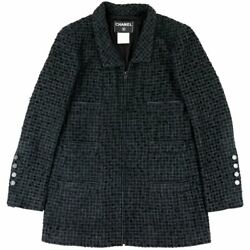 02p Tweed Jacket Women And039s Black System 40 Clover Coco Mark No.620